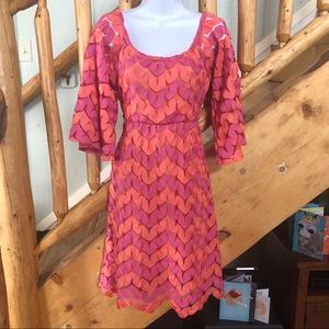 Judith March Pink & Orange Dress - Bell Sleeves